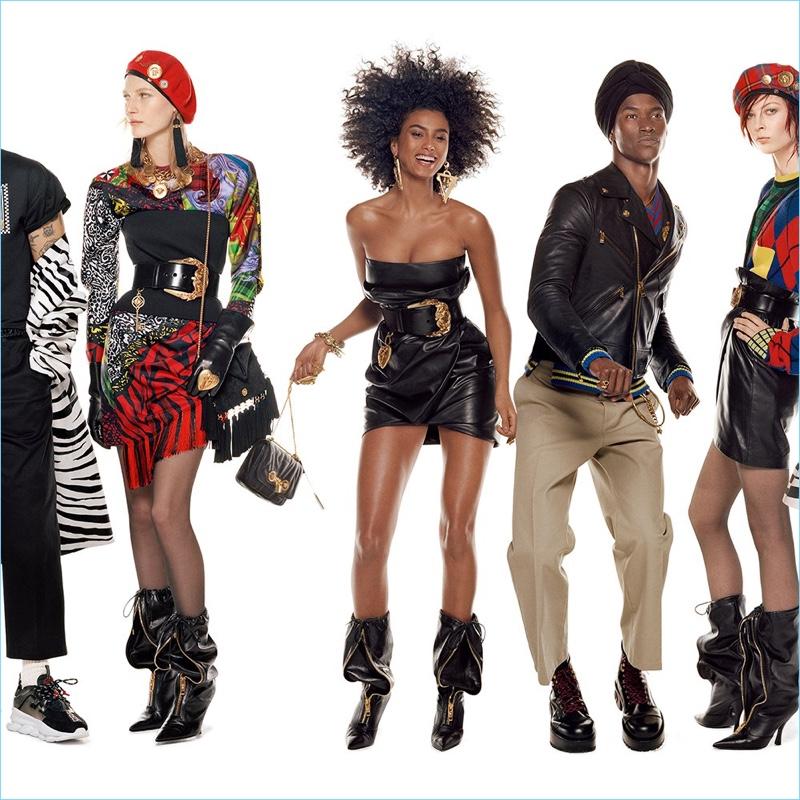 Julia Nobis, Iman Hammam, Salomon Diaz, and Remington Williams front Versace's fall-winter 2018 campaign.