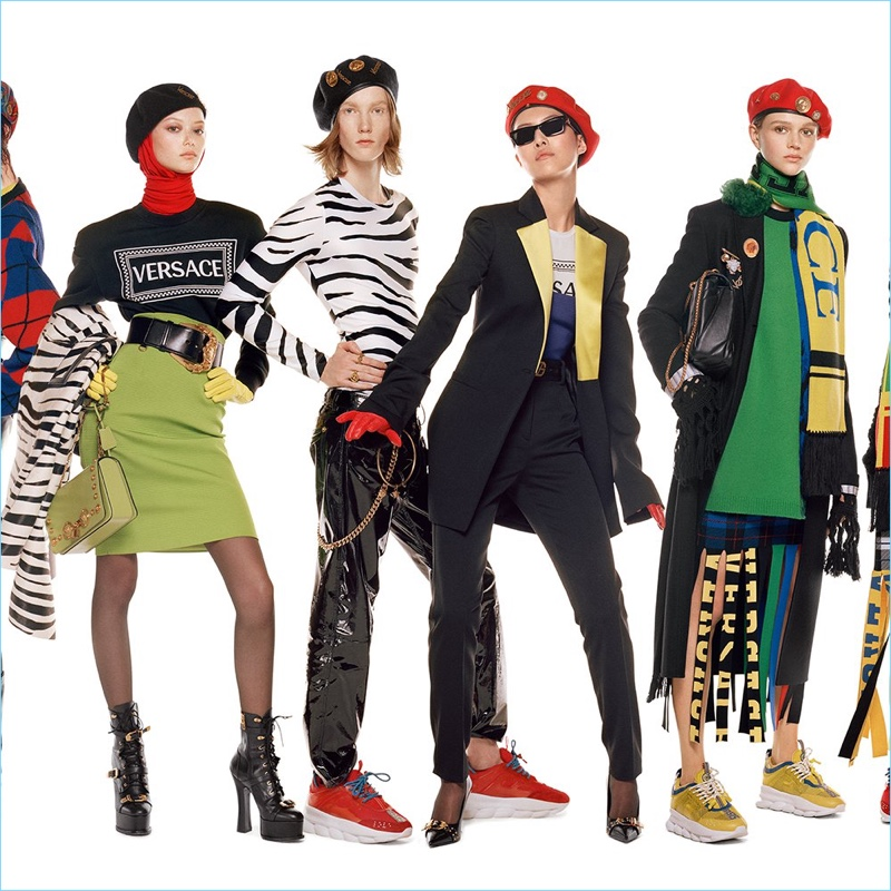 Sara Grace Wallerstedt, Matt Pitt, Sohyun Jung, and Natalie Ogg come together for Versace's fall-winter 2018 campaign.