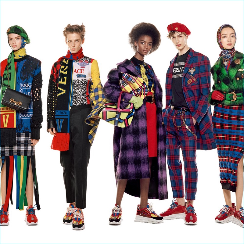 Eduarda Bretas, Emily Gafford, Blesnya Minher, Dylan Fender, and Fei Fei Sun appear in Versace's fall-winter 2018 campaign.