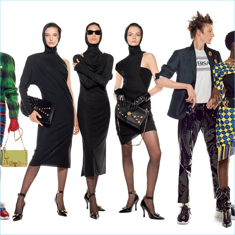Ansley Gulielmi, Nora Attal, Fran Summers, and Finnlay Davis star in Versace's fall-winter 2018 campaign.
