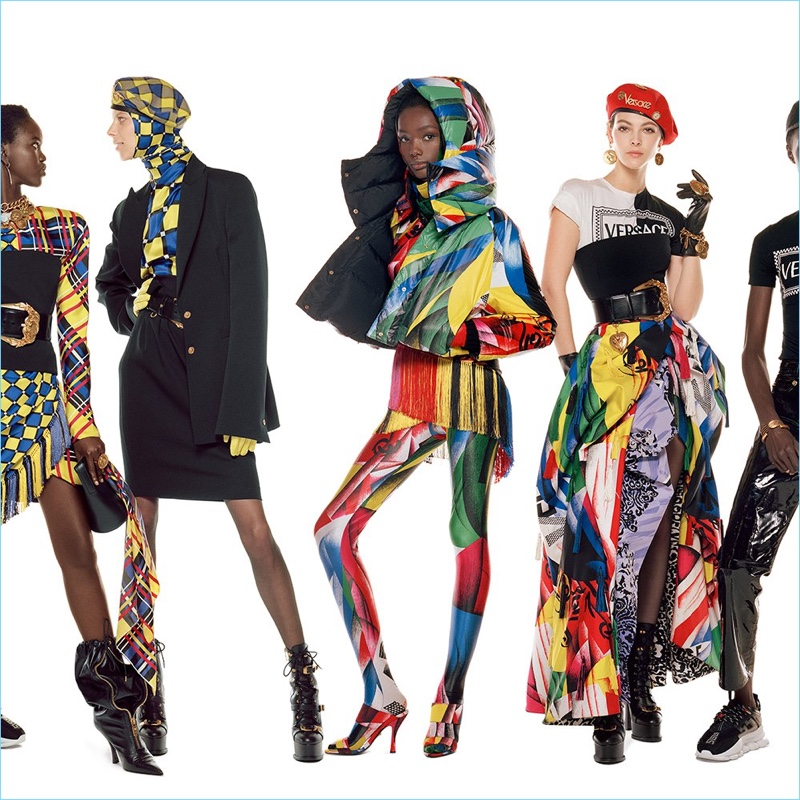 Adut Akech, Lexi Boling, Imari Karanja, and Vittoria Ceretti appear in Versace's fall-winter 2018 campaign.