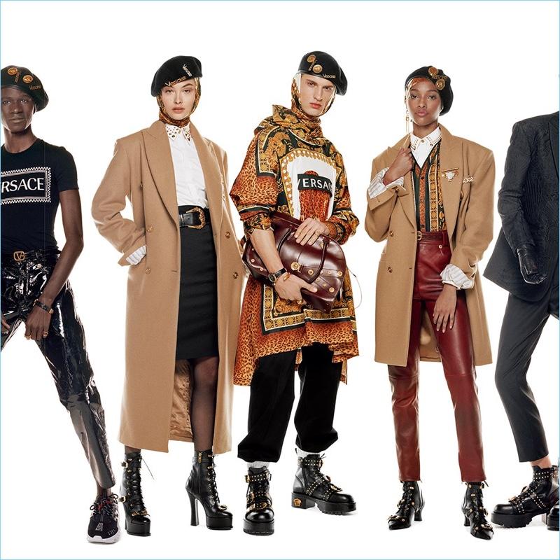 Malick Bodian, Grace Elizabeth, David Trulik, and Naomi Chin Wing front Versace's fall-winter 2018 campaign.