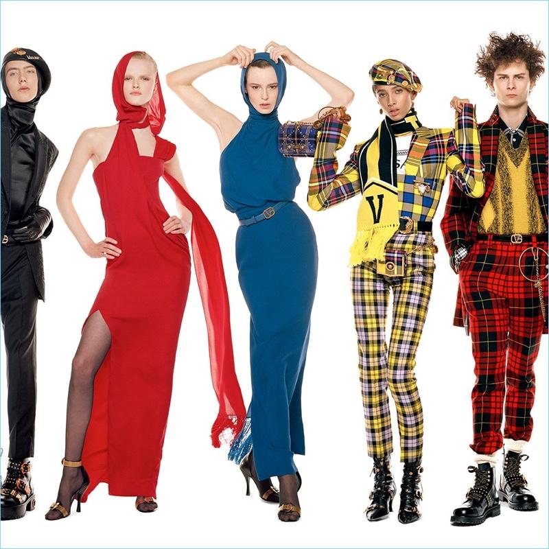 Paul Hameline, Hannah Motler, Gisele Fox, Yasmine Wijnaldum, and Skylar Penn appear in Versace's fall-winter 2018 campaign.