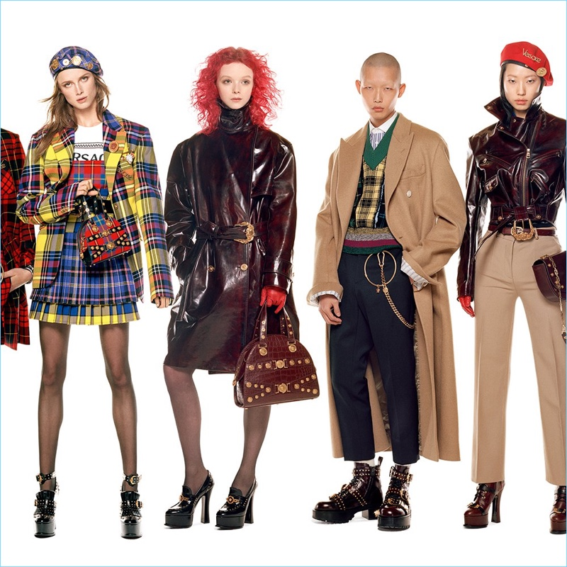 Rianne van Rompaey, Lily Nova, Xu Meen, and Heejung Park front Versace's fall-winter 2018 campaign.