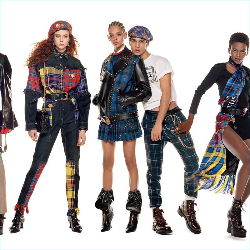 Natalie Westling, Hiandra Martinez, Ali Latif, and Aube Jolicoeur star in Versace's fall-winter 2018 campaign.
