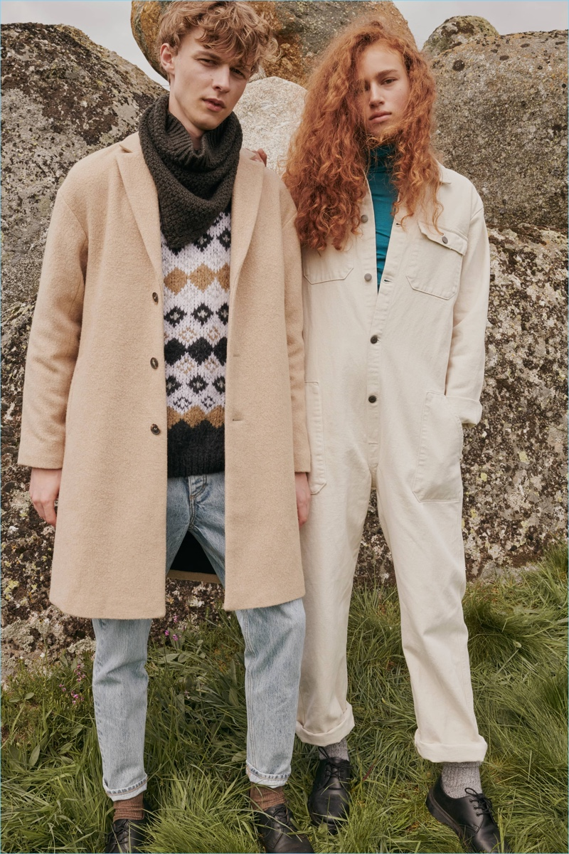 Models Max Barczak and Lois Schalkwijk come together for American Vintage's fall-winter 2018 outing.