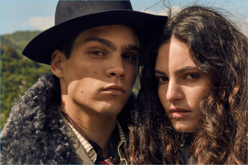 Models Federico Spinas and Talia Ferralis appear in Antonio Marras' fall-winter 2018 campaign.