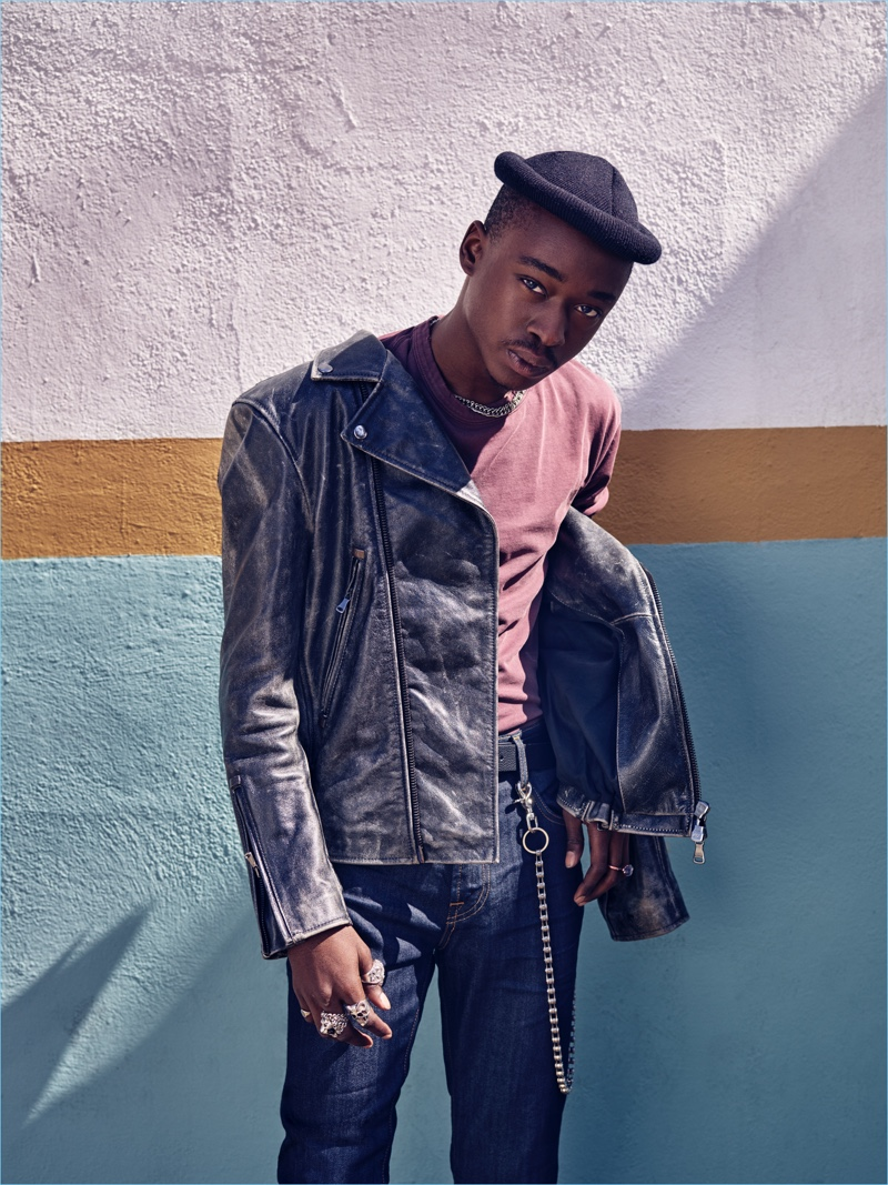 Ashton Sanders fronts 7 For All Mankind's fall-winter 2018 men's campaign.