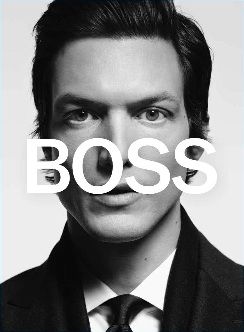 Model Michael Gandolfi stars in BOSS' fall-winter 2018 campaign.
