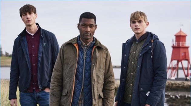 Models Harvey James, Jourdan Copeland, and Jose Luis Lucero model fall-winter 2018 looks from Barbour Beacon.