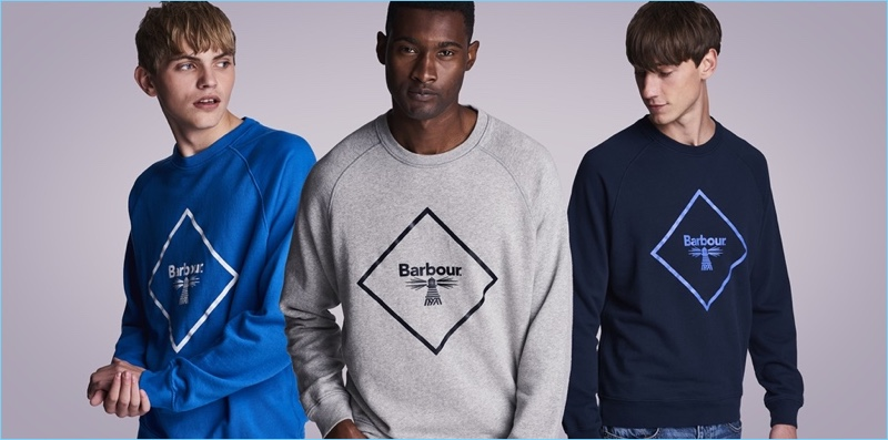 Going casual, Barbour Beacon showcases logo sweatshirts.