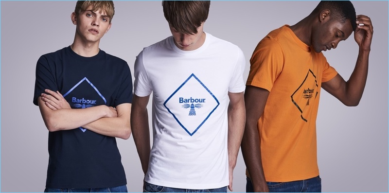 Logo t-shirts are front and center for Barbour Beacon's fall-winter 2018 outing.
