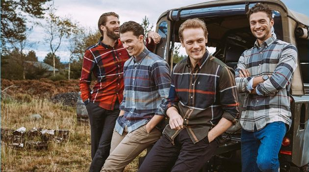 Calle Strand, Samuel Tingman, Sam Heughan, and Harvey Newton-Hayden appear in the Barbour Shirt Department fall-winter 2018 campaign.