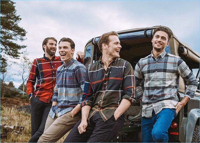 Models Calle Strand, Samuel Tingman, and Harvey Newton-Hayden join Sam Heughan for the Barbour Shirt Department fall-winter 2018 campaign.