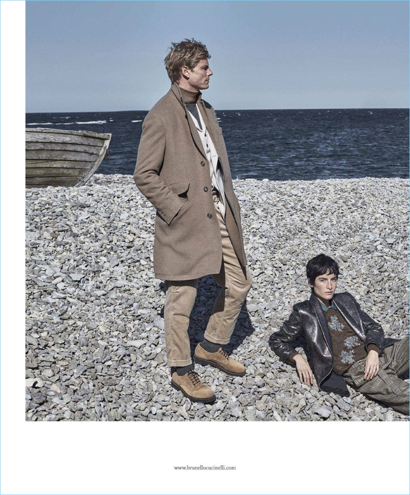 Arnaud Lemaire appears in Brunello Cucinelli's fall-winter 2018 campaign.