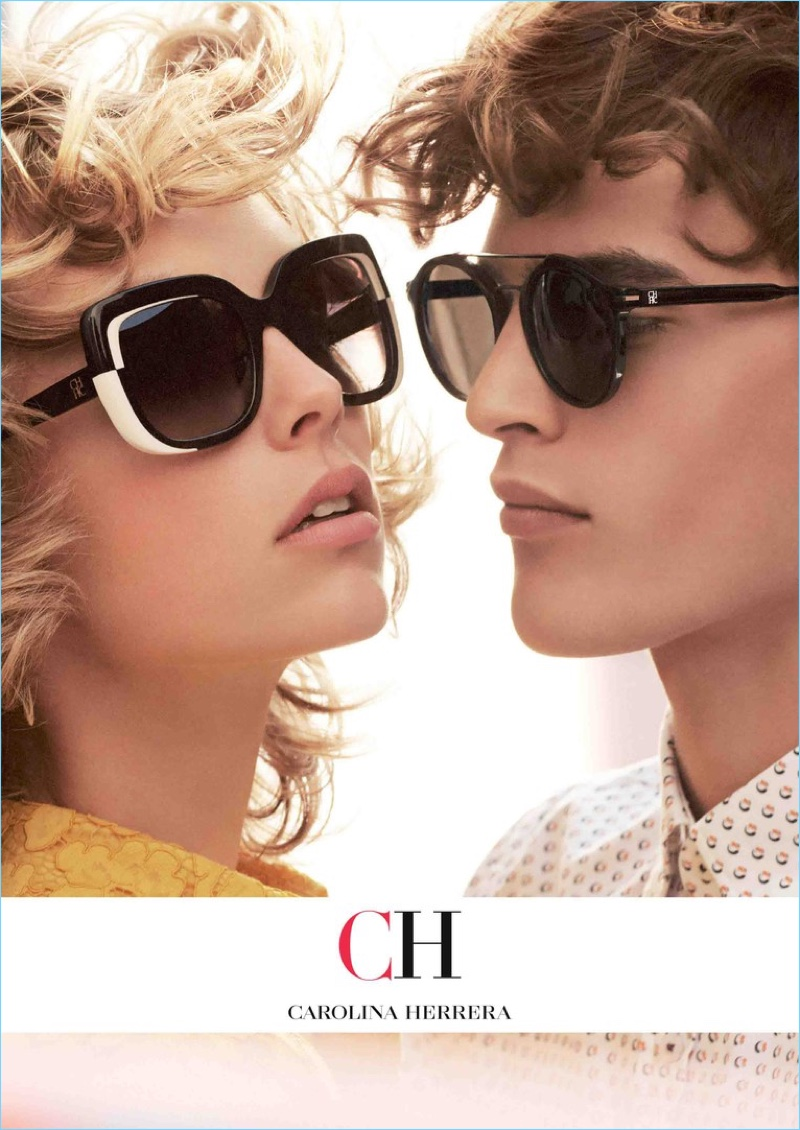 Models Edie Campbell and Parker van Noord come together for CH Carolina Herrera's fall-winter 2018 eyewear campaign.
