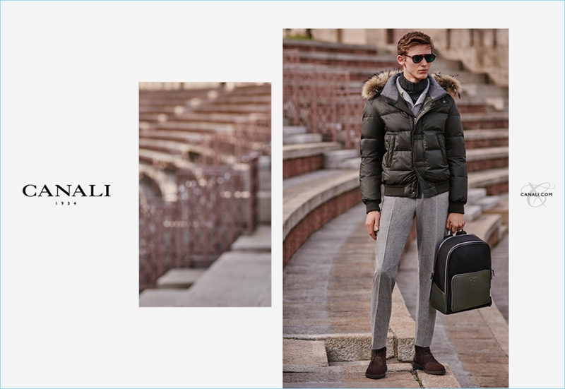 Christopher Einla appears in Canali's fall-winter 2018 campaign.