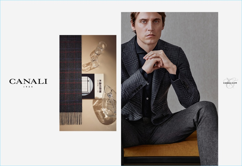 Donning a sharp suit, Sébastien Andrieu fronts Canali's fall-winter 2018 campaign.
