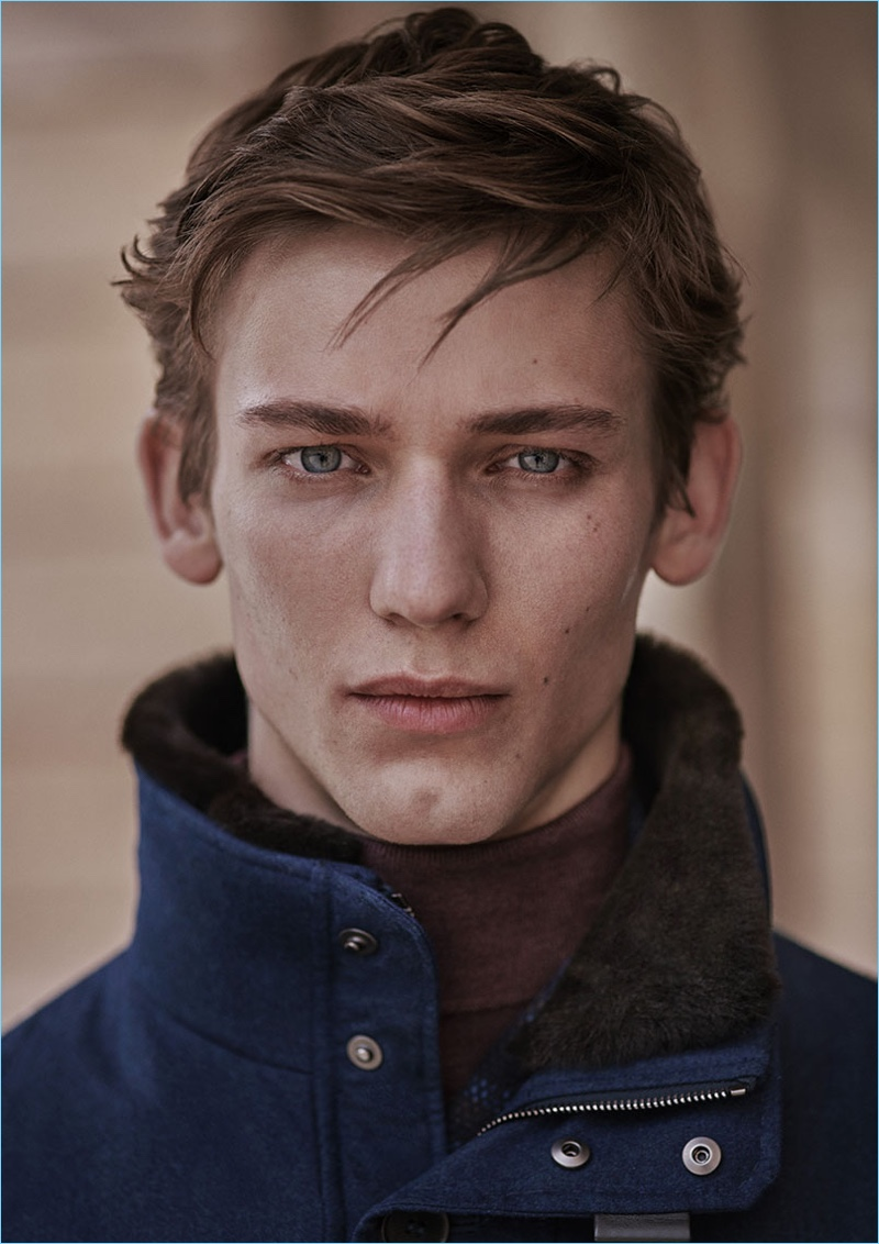 Model Christopher Einla appears in Canali's fall-winter 2018 catalog.