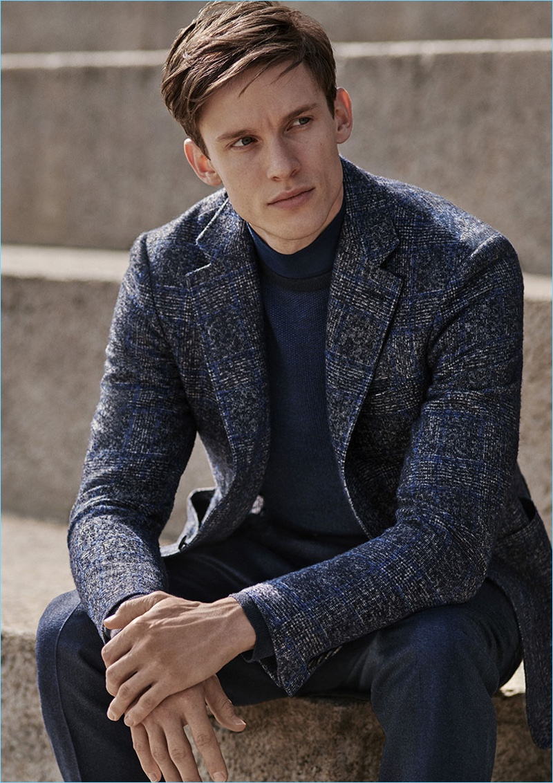 Chris Doe dons a chic look from Canali's fall-winter 2018 collection.