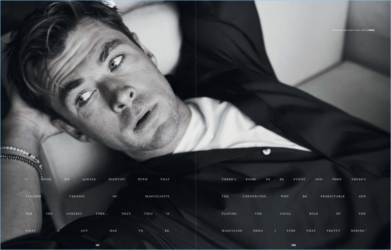 Relaxing, Chris Hemsworth stars in a BOSS spread for Esquire Singapore.