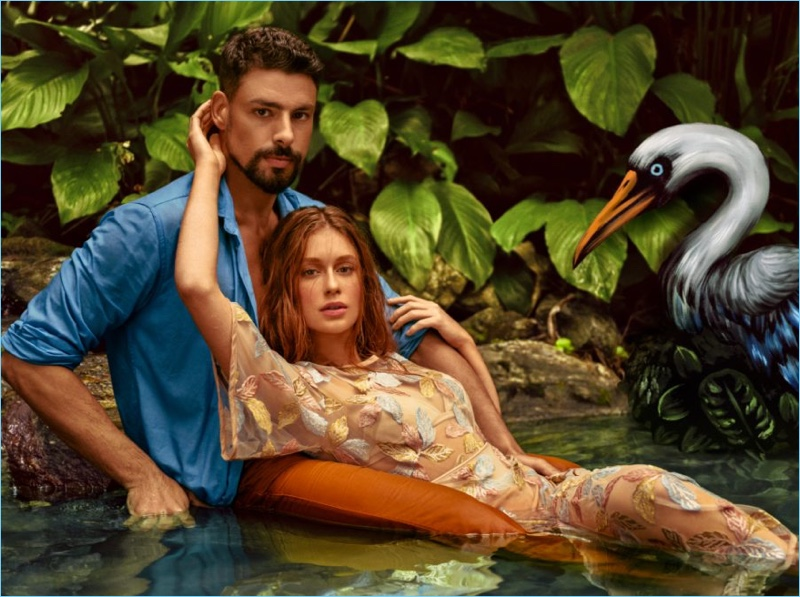 Embracing beachy vibes, Marina Ruy Barbosa and Cauã Reymond front Colcci's spring-summer 2019 campaign.