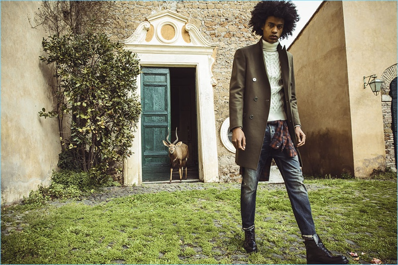 A contemporary vision, Yorgary Martinez appears in David Naman's fall-winter 2018 campaign.