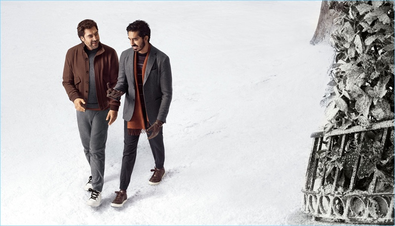 Actors Javier Bardem and Dev Patel reunite for Ermenegildo Zegna s  fall-winter 2018 campaign. d76760f2656