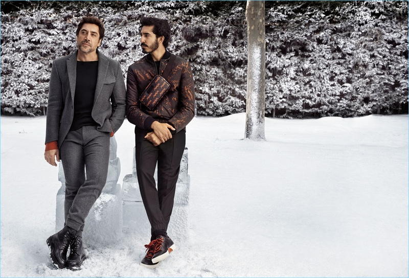 Ermenegildo Zegna reunites with Javier Bardem and Dev Patel for its fall-winter 2018 campaign.