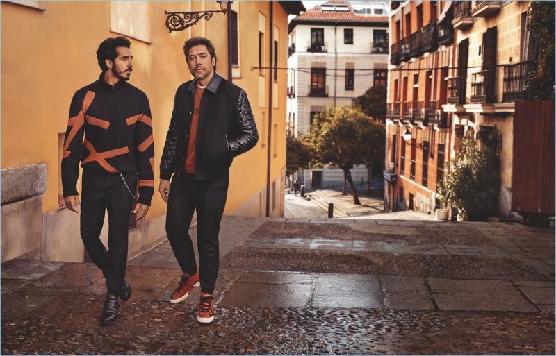 Craig McDean photographs Dev Patel and Javier Bardem for Ermenegildo Zegna's fall-winter 2018 campaign.