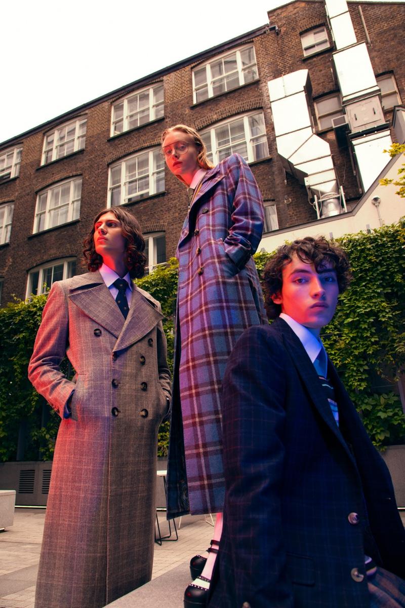 Models Geraint, Hebe Wohlrab, and Bertie Walker wear Helen Anthony.