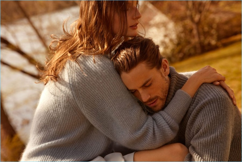 Couple Sara Blomqvist and Jeremy Young embrace for Filippa K's fall-winter 2018 campaign.