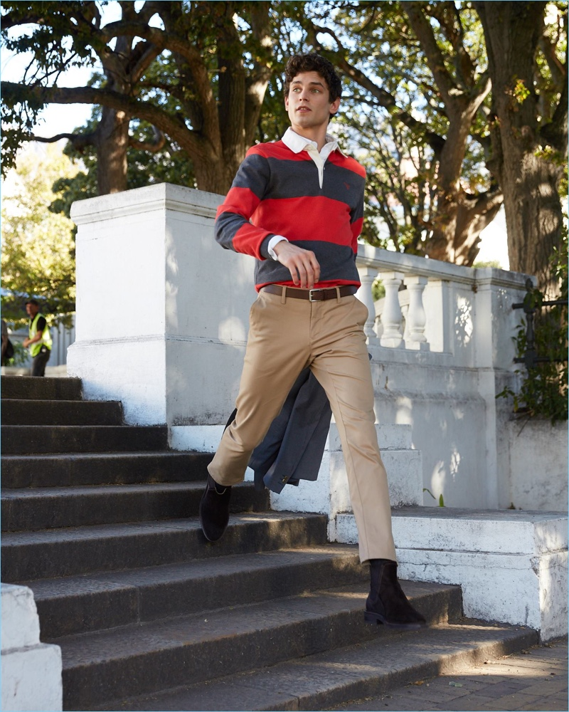 Sporting a rugby shirt, Arthur Gosse fronts Gant's fall-winter 2018 campaign.