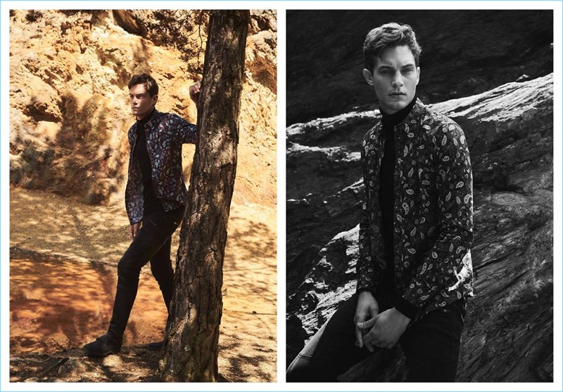 Sporting a paisley print shirt, Greg Nawrat appears in Medicine's fall-winter 2018 campaign.