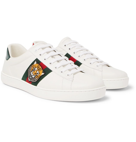 1795077c51b Gucci – Ace Watersnake-Trimmed Embroidered Leather Sneakers – White ...