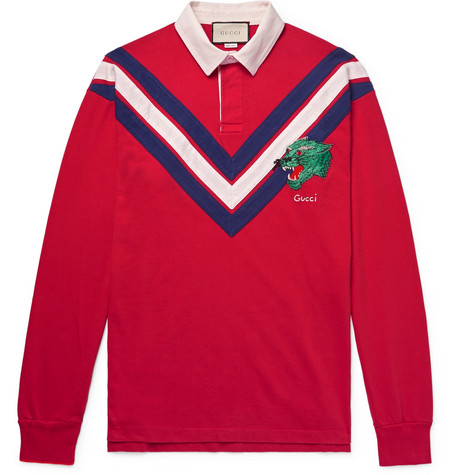 Gucci - Appliquéd Twill-Trimmed Cotton-Jersey Polo Shirt - Red