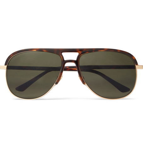 4935ee568bc Gucci - Aviator-Style Tortoiseshell Acetate and Gold-Tone Sunglasses - Brown