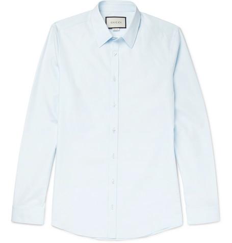 Gucci - Blue Slim-Fit Cotton-Poplin Shirt - Sky blue