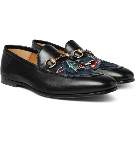 ada5e0726af3 Gucci – Brixton Horsebit Collapsible-Heel Appliquéd Leather Loafers – Black