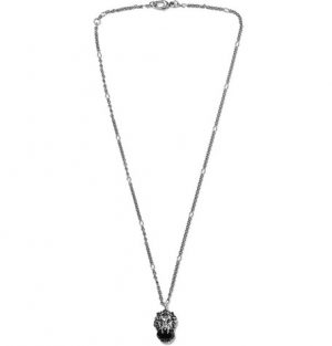 Gucci - Burnished Silver-Tone Swarovski Crystal Necklace - Silver