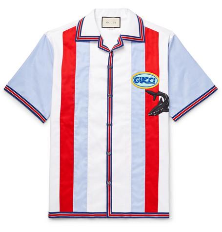 Gucci - Camp-Collar Appliquéd Striped Cotton Oxford Shirt - Blue
