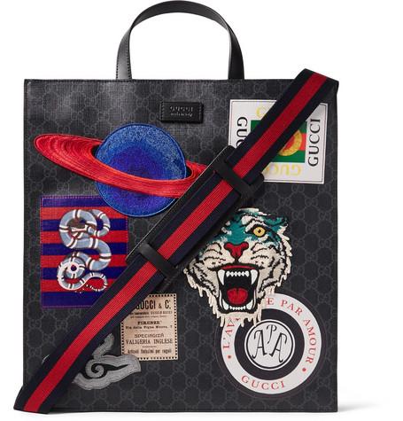 f95d17c09 Gucci - Courrier Leather-Trimmed Appliquéd Monogrammed Coated-Canvas Tote  Bag - Black