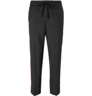 Gucci - Cropped Tapered Velvet-Trimmed Wool Trousers - Gray