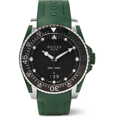 Gucci - Dive 40mm Stainless Steel and Rubber Watch - Black