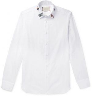 Gucci - Duke Slim-Fit Embroidered Cotton-Poplin Shirt - White