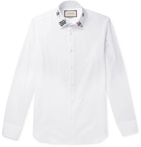 6d26cd8c Gucci – Duke Slim-Fit Embroidered Cotton-Poplin Shirt – Men – White ...