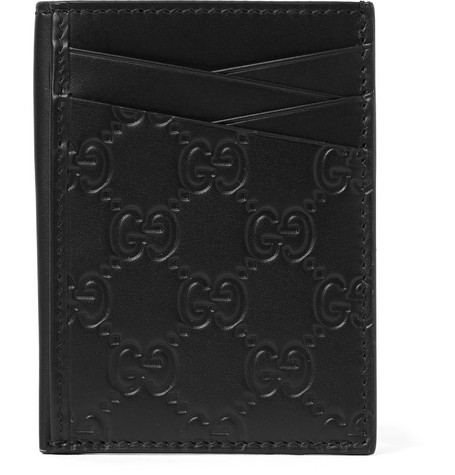 b672cc96b4b80c Gucci – Embossed Leather Cardholder – Black | The Fashionisto