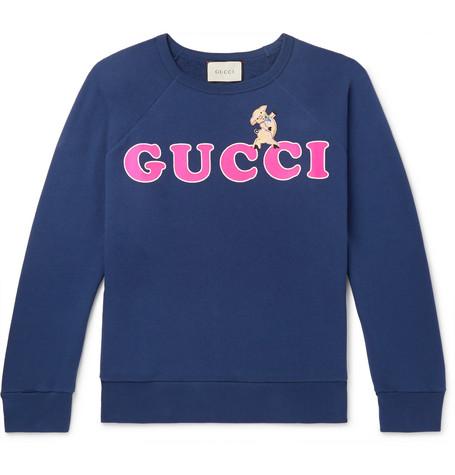Gucci - Embroidered Logo-Print Loopback Cotton-Jersey Sweatshirt - Navy