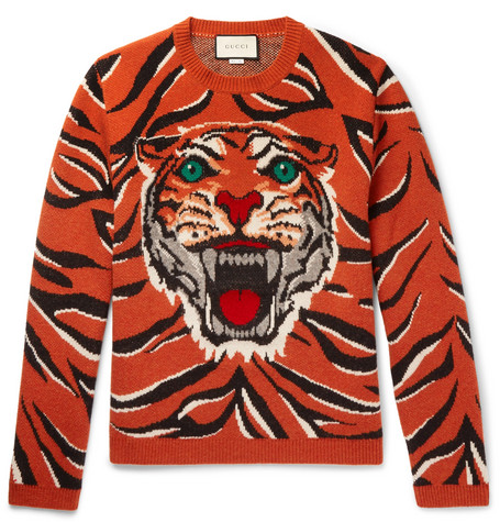 cfc3bd55 Gucci – Embroidered Tiger-Intarsia Wool Sweater – Men – Orange   The ...