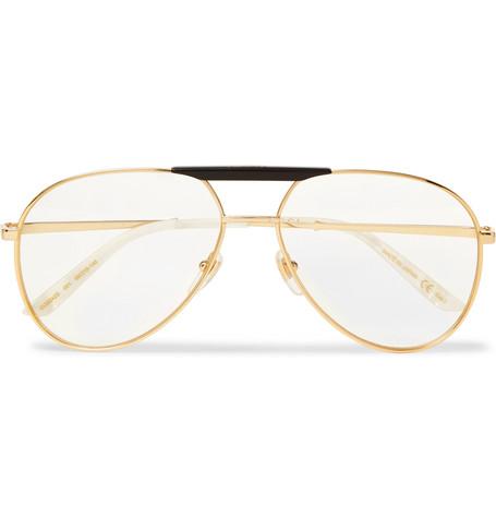9babe73b0d3b Gucci – Endura Aviator-Style Acetate and Gold-Tone Optical Glasses – Men –  Clear